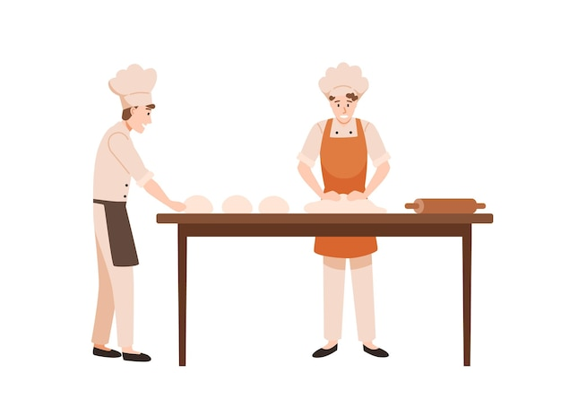 Bakers at work flat vector illustration. bakery workers kneading dough cartoon characters. kitchen staff working together. cooks team in chefs hats and aprons preparing homemade pastry.
