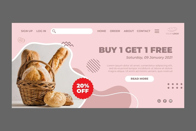 Bakery ad template landing page