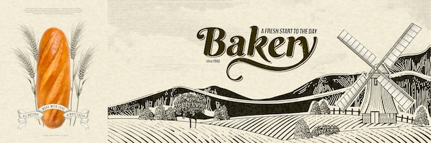 Bakery ads in engraving style with realistic bread  on countryside landscape