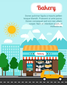 Bakery advertising banner template with shop building