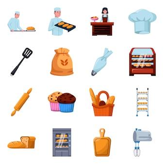 Пекарня и пекарь мультфильм элементы. набор иллюстрации хлеба и муки. набор элементов хлебобулочных.