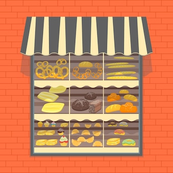Хлебобулочные изделия и хлебобулочные изделия витрина кафе ресторан или магазин элемент плоский дизайн стиль