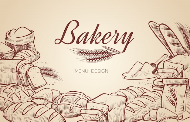 Bakery background. hand drawn cooking bread bakery bagel breads pastry bake baking culinary   menu design