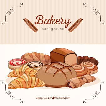 Bakery background in hand drawn style