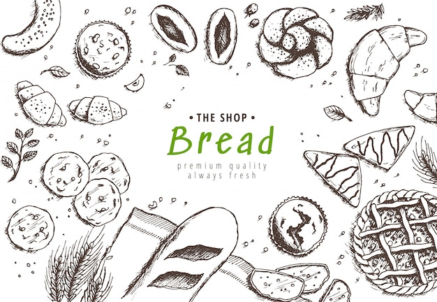 Bakery background, linear graphic