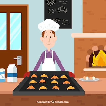 Bakery background with baker in flat style