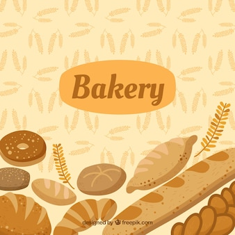 Bakery background with bread in flat style