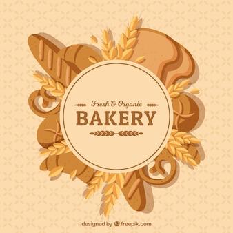 Хлебобулочные фоне с хлебом в плоском стиле