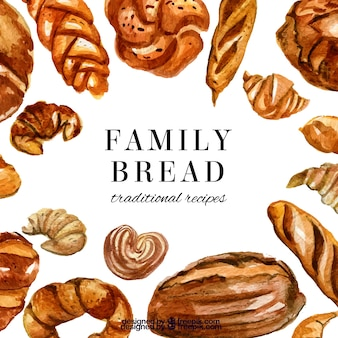 Sfondo di panetteria con pane e pasticcini in stile acquerello