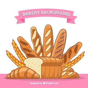 Bakery background with bread and wheat