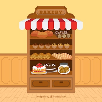 Bakery background with desserts in flat style