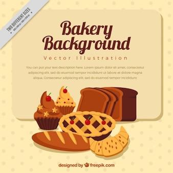 Sfondo panetteria con disegnati a mano gustosi prodotti da forno