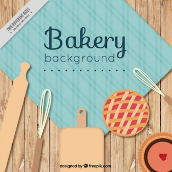 Bakery background with rolling pin