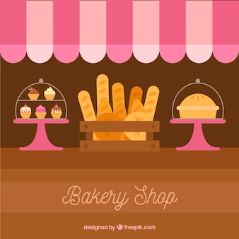 Bakery background with sweets and bread in flat style