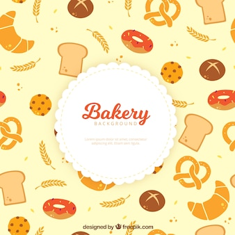 Bakery background with sweets and bread