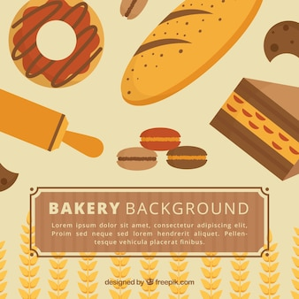 Sfondo di panetteria con dolci e pane