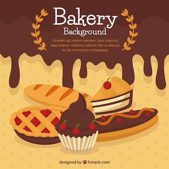 Bakery background with sweets in flat style