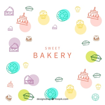 Bakery background with sweets
