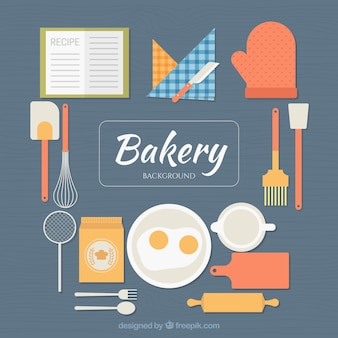 Bakery background with tools in flat style