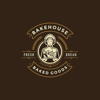 Bakery badge or label retro  illustration baker women holding basket with bread silhouette for bakehouse.