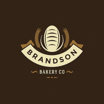 Bakery badge or label retro  illustration. bread or loaf silhouette for bakehouse.