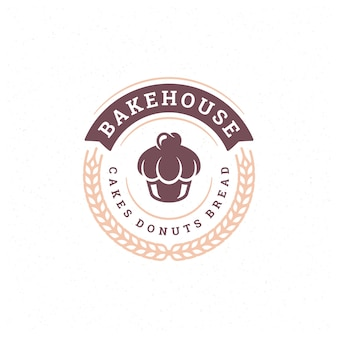 Bakery badge or label retro  illustration cupcake and wheat silhouettes for bakehouse.
