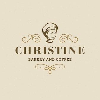 빵집 배지 또는 레이블 복고풍 그림 베이커 여성 빵집 빵 실루엣 바구니를 들고.