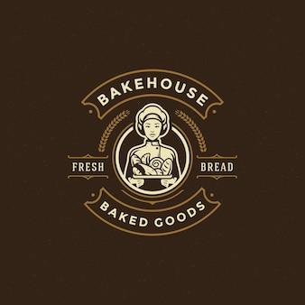 Значок пекарни или этикетка ретро иллюстрации пекаря женщины, держа корзину с хлебом силуэт для пекарни.