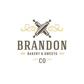 パン屋のバッジまたはラベルのレトロなイラスト麺棒シルエットのパン屋。