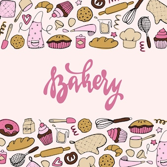 Баннер пекарни, плакат с рисунками Premium векторы