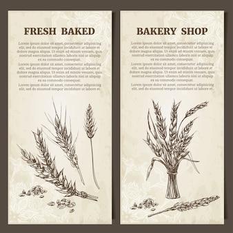ベーカリーバナー。カードテンプレートのセット。手描きの小麦の穂。