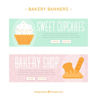 Bakery banners in flat style