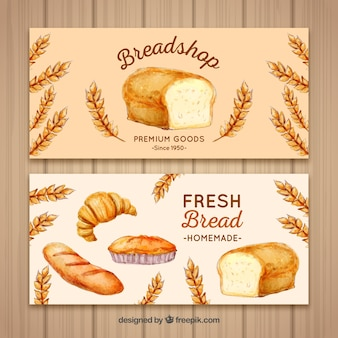 Bakery banners in watercolor style