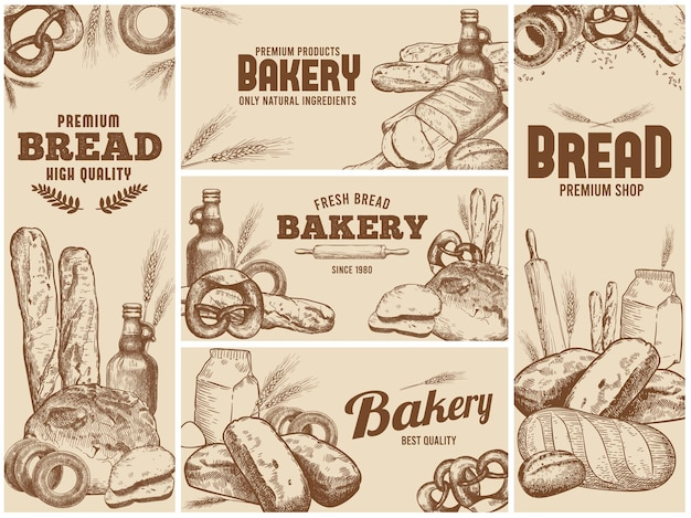 손으로 그린 신선한 빵과 제빵 용 천연 재료로 설정된 베이커리 배너 프리미엄 벡터