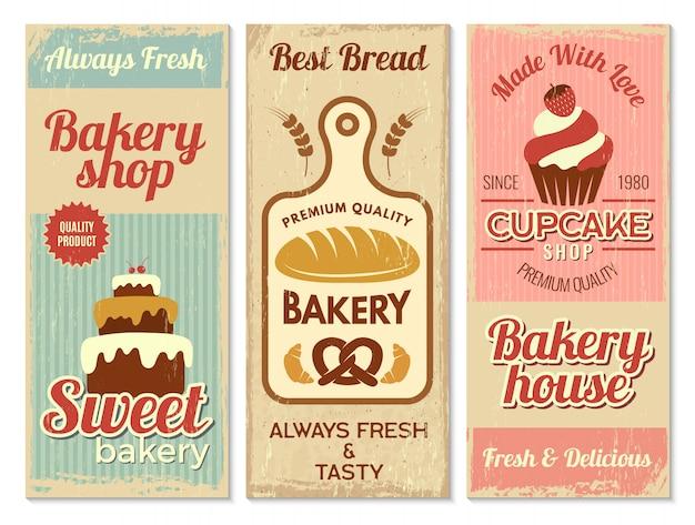 Пекарня баннеры. сладкая выпечка кухня логотип для кулинарных проектов шаблон меню ресторана
