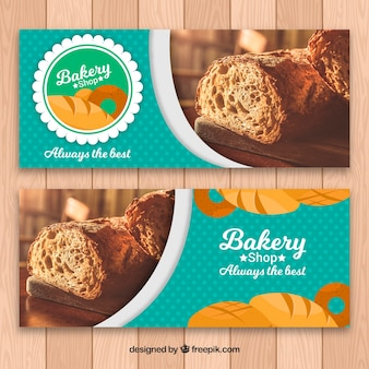Bakery banners with bread in flat style