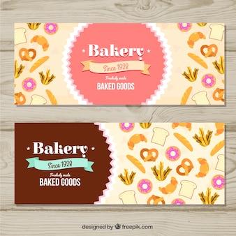 Пекарские знамена с конфетами и хлебом в плоском стиле