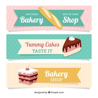 Bakery banners with sweets and bread in flat style