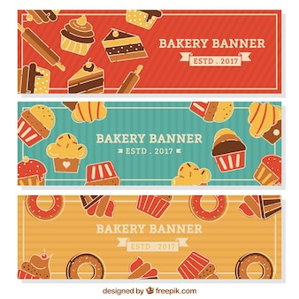 Bakery banners with sweets and bread