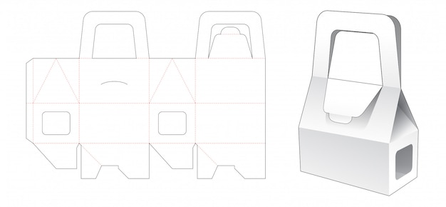 Bakery box packaging with window and holder die cut template
