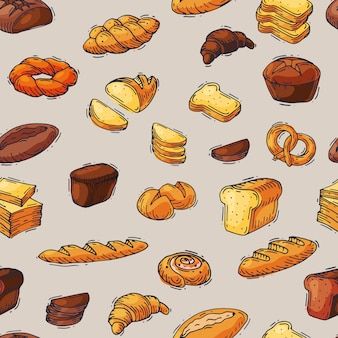 Bakery and bread  baking breadstuff meal loaf or baguette baked by baker in bakehouse cakes set illustration seamless pattern