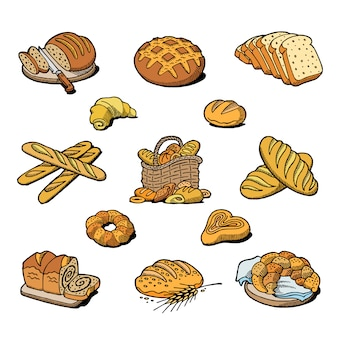 Bakery and bread baking breadstuff meal loaf or baguette baked by baker in bakehouse set illustration isolated on white background