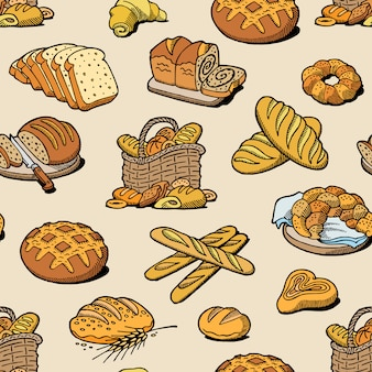 Bakery and bread baking breadstuff meal loaf or baguette baked by baker in bakehouse set illustration seamless pattern background