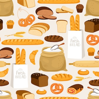 Bakery bread seamless pattern. cartoon breads products and pastries, ears and flour bakeries