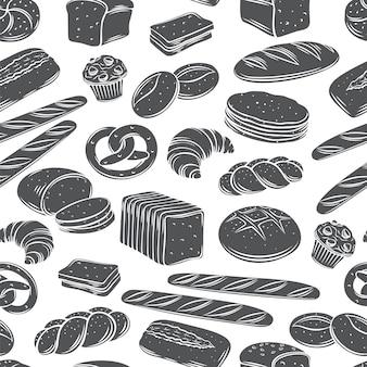 베이커리 빵 원활한 패턴 흑백 글리프