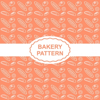 Bakery and bread seamless pattern in orange background.