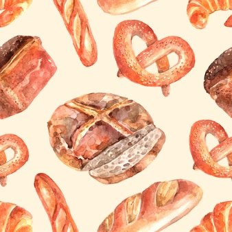 Bakery bread seamless wrap paper  pattern with round whole wheat loaf and pretzel