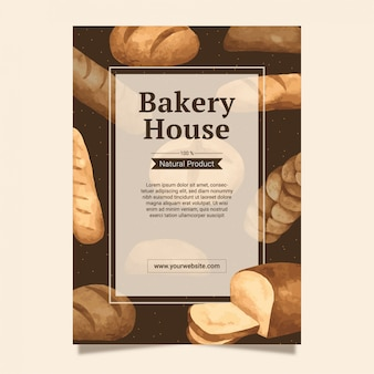 Bakery and breads frame background template for menu design and poster in watercolour