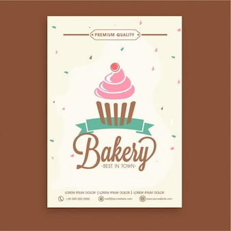 Bakery brochure template with decorative cupcake