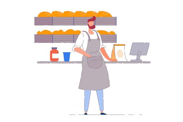 베이커리 사업자. 빵집 소매점 체크 아웃 카운터에서 일하는 베이커 사람 남자. 선반에 빵 덩어리. 중소 기업 소유자 개념
